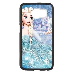 M7K84 congelado Disney de dibujos animados Elsa H5W7RO funda Samsung Galaxy S6 funda caja del teléfono celular cubren WW6EOH3XN negro