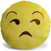 OxGord Emoji Movie Unamused Pillow Plush Round Cushion Stuffed Toy Doll for Kids Bed Chair