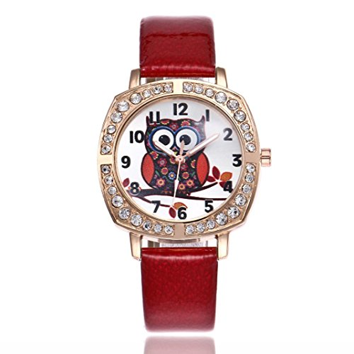 (Swyss Women's Diamond Dress Watch Cute Big Eyes Owl Quartz WristWatches Chic Jewelry College Wind Fashion Gift (Red))