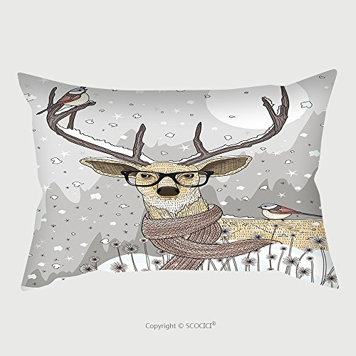 Custom Microfiber Pillowcase Protector Cute Hipster Deer With Scarf And Glasses. Winter Night Christmas Illustration_50134894 Pillow Case Covers Decorative (Patio Dallas Covers Glass)