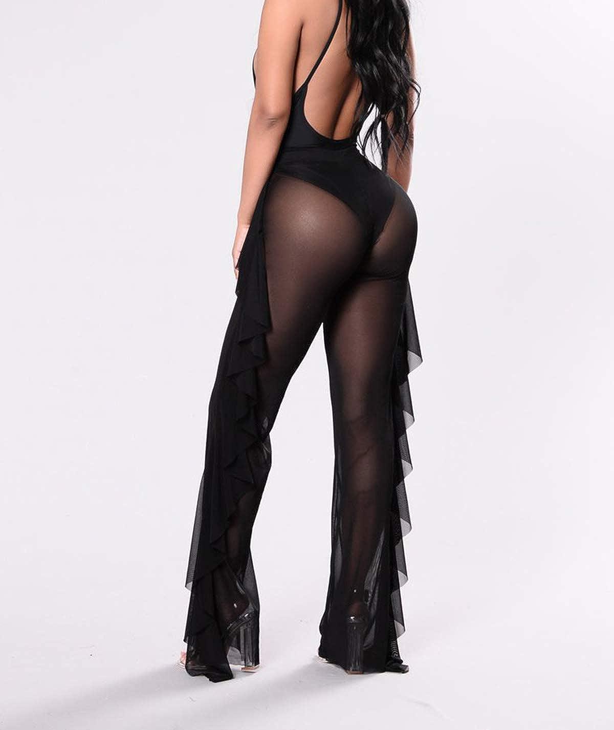 8db61058e35e61 Amazon.com: Yoawdats Women Sexy Perspective Mesh Sheer Swim Shorts Pants  Bikini Bottom Cover up Ruffle Clubwear Pants: Clothing