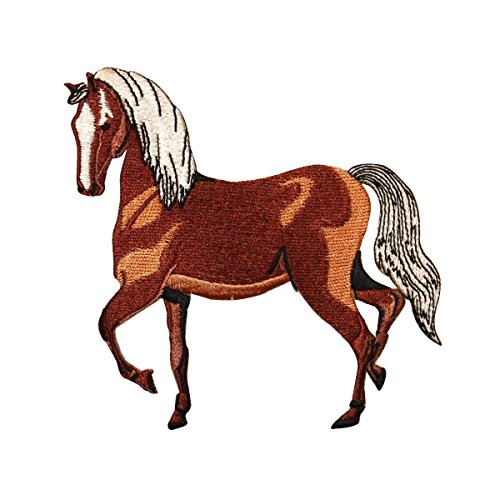 ID 0724 Show Horse Prancing Patch Farm Animal Pony Embroidered Iron On Applique