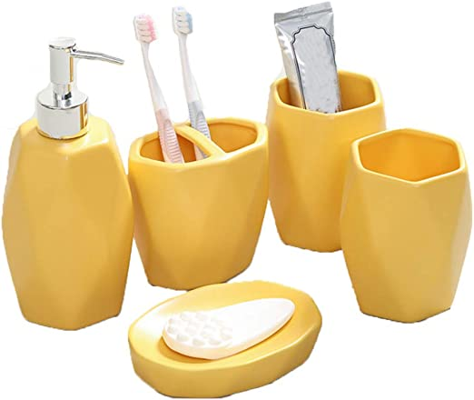Amazon Com Diamond Lattice Pattern Ceramic 5 Pieces Bathroom Accessories Set Includes Lotion Dispenser Toothbrush Holder Tumbler Soap Dish Gifts For Family Friends Yellow Home Kitchen