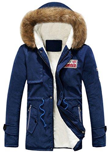 amp;W amp;S Sleeve Outwear Faux Lining Mens Hooded Fur M 3 Coat Long OAxWqBgWnw