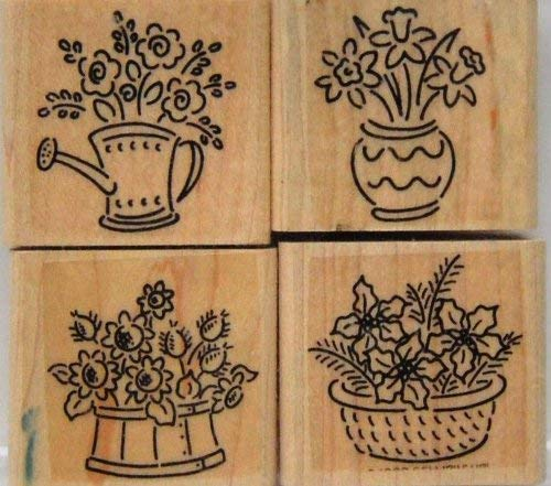 Stampin Up Bitty Bouquets Rubber Wood Set 4