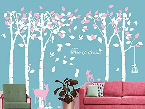 5 Trees Wall Sticker Large Family Forest Deer Woodland for Livingroom Kid Baby Nursery Room Decoration Gift,102x72 Inch 1 PCS,White Pink Mix Decor Tree Wall Decal