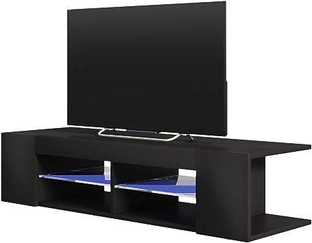 Selsey Mitchell - Mueble TV con LED/Mesa para TV/Mueble para Salón Comedor/Estilo Nórdico (137 cm, Negro Mate/Negro Brillante): Amazon.es: Electrónica