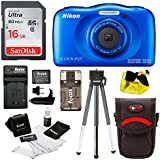 Nikon Coolpix W100 Waterproof Digital Camera (Blue) with 16GB Card + Bundle