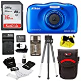 Nikon Coolpix W100 Waterproof Digital Camera (Blue) with 16GB Card and Battery with Charger Bundle For Sale