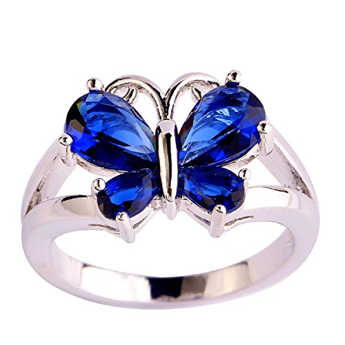 (Veunora 925 Sterling Silver Created Pear Cut Sapphire Quartz Filled Gorgeous Butterfly Ring for Women Size 12)