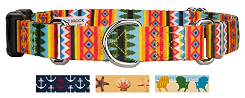 Country Brook Petz - Summer Pines Martingale with Deluxe Buckle Dog Collar - Medium