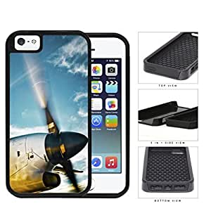 Airplane Jet Propeller Flying Through Blue Sky 2-Piece High Impact Dual Layer Black Silicone Cell Phone Case iPhone i5 5s