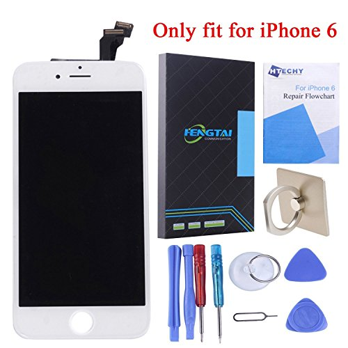 Display Replacement Kit (HTECHY LCD Display Digitizer Touch Screen Replacement Parts Kit and Repair Tools for iPhone 6 4.7-Inch (White))
