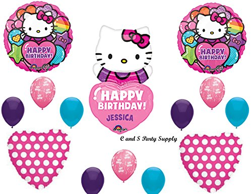 HELLO KITTY PERSONALIZED Birthday Party Mylar Balloons Decorations Supplies by (Hello Kitty Birthday Stickers)