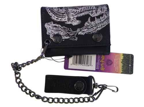 Harry Potter Wallet - Hogwarts School Leather Wallet with Metal Chain