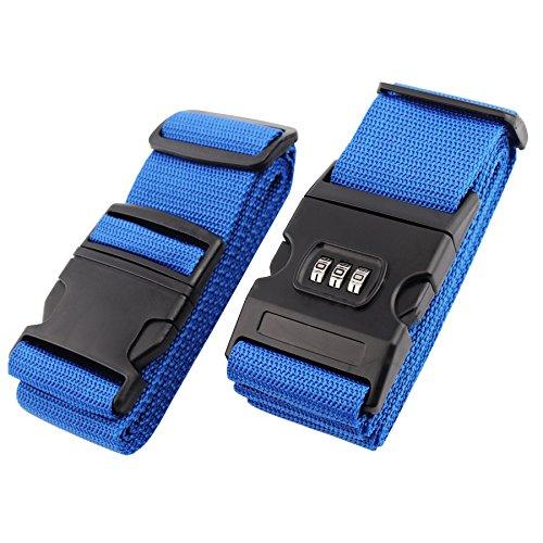 BENCARDO Luggage Straps 2 Pack Blue Adjustable Suitcase Security Travel Belt With...