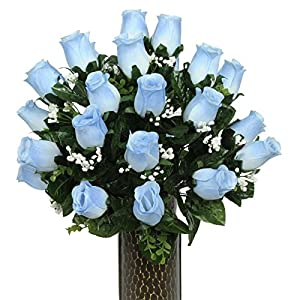 Blue Roses Artificial Bouquet, featuring the Stay-In-The-Vase Design(c) Flower Holder (SM1589) 39