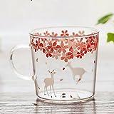 Sakura Glass Mug with Handle,Cute Animal Design Borosilicate Glass Cups Deer printed Mug-Perfect gifts for kids Drinking Tea, Latte, Espresso, Juice,Milk,By Mr.Mug & Ms.Cup (310ml,10.1OZ)