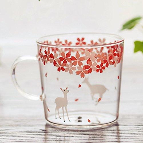 Sakura Glass Mug with Handle,Cute Animal Design Borosilicate Glass Cups Deer printed Mug-Perfect gifts for kids Drinking Tea, Latte, Espresso, Juice,Milk (310ml,10.1OZ)