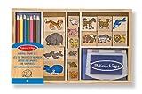 Melissa & Doug Wooden Stamp Set: Animals - 16 Stamps, 4 Colored Pencils, Stamp Pad
