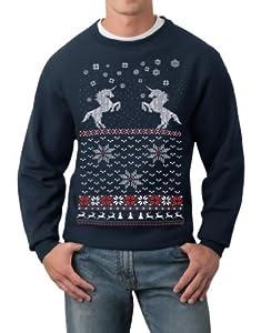 Skip N' Whistle Adult Ugly Christmas Sweater Unicorn Pullover Sweatshirt