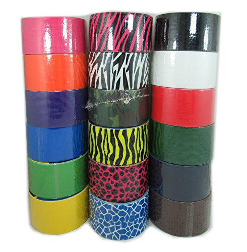 18 Roll Variety Pack of Print and Solid Colors Duct Tape. Pr