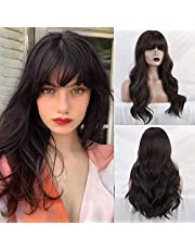 BOGSEA Wig with Bangs Long Wigs for Women Long Wigs with Bangs Synthetic Wavy Wigs for Daily Party
