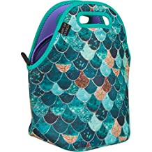 ART OF LUNCH Insulated Neoprene Lunch Bag for Women and Kids - Artist Monika Strigel (Germany) and Art of Liv'n have Partnered to donate $.40 per sale to Pacific Whale Foundation - Really Mermaid