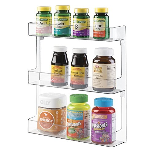 mDesign Wall Mount Nail Polish and Cosmetics Storage Rack for Bathroom - 3 Tiers, Clear