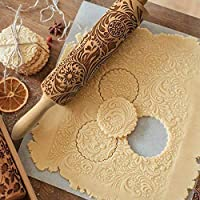Goalftek Christmas Rolling Pin Embossed Rolling Pin Cookies Embossing Patterned Roller Fondant Cake Dough Biscuitf