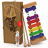 Wooden Xylophone for Kids with Free Eagle Whistle: Best Gift for Your Mini Me, Percussion Instrument with Multi-Colored Metal Keys and Two Child-Safe Wooden Mallets for More Extra Fun