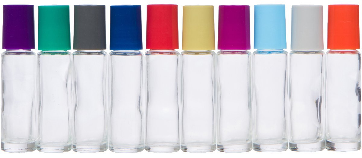 The Root and Petal Set of 10 Multicolored Glass Roller Bottles with Glass Balls for Essential Oils – The Original Palette