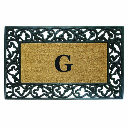 Nedia Home Acanthus Border with Rubber/Coir Doormat, 30 by 48-Inch, Monogrammed -