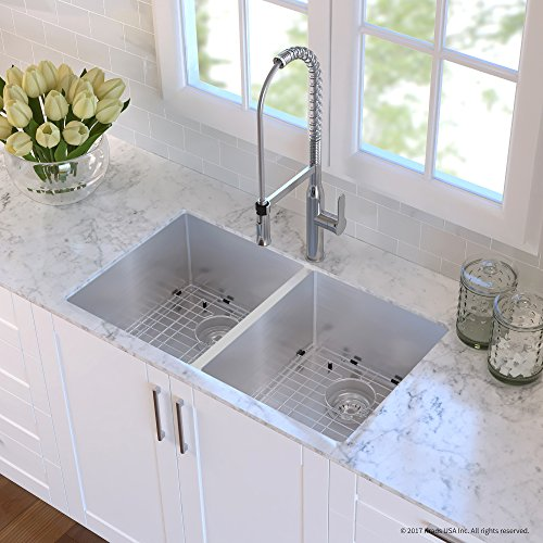 Kraus KHU102-33-1650-41CH Combo with 33 Inch Undermount 50/50 Double Bowl 16 Gauge Stainless Steel Sink and Nola Commercial Kitchen Faucet with Soap Dispenser, - One Undermount Bowl
