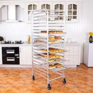 CHEFJOY Aluminum Kitchen Bun Pan Sheet Rack w/Wheels 2 Lockable Home Commercial Use Bakery Cooling Rack Open Shelf