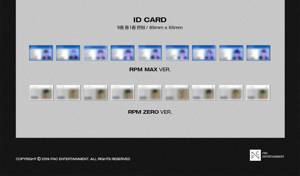 K-POP SF9 - RPM, RPM Zero Version Cover Incl. CD, 84pg Photobook, On Pack Poster, Concept Photocard, Selfie Photocard, ID Card, Folded Poster, Extra Photocards Set by FNC Entertainment
