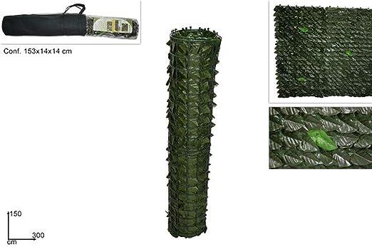 Vetrineinrete® - Seto Artificial Falso Decorativo de PVC con Hojas Artificiales, Red de ocultación, Rollo de Sombra para balcón, terraza: Amazon.es: Jardín
