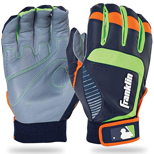 Franklin Sports Adult MLB Shok-Sorb Neo Batting Gloves, Adult Large, Pair, Gray/Navy/Lime