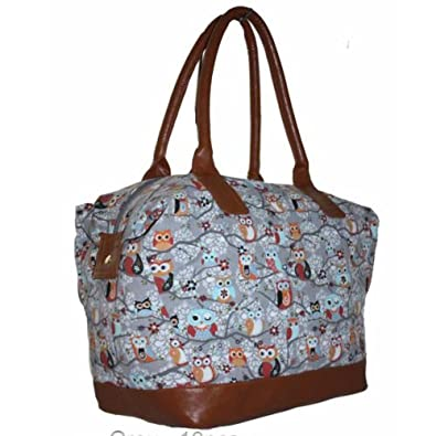 959f2896f3 Ladies Large Canvas Oversized Weekend Bag Travel Maternity Overnight Gym  Holdall - Owl Snow Grey