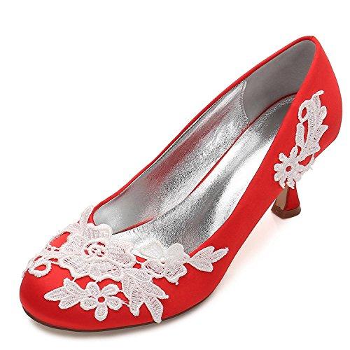 Cour Mesure Taille Fermer Chaussures Orteils Mariage YC Femmes Sur de de Fleur la red Satin Parti les Corsage L du Bureau qZ7HB