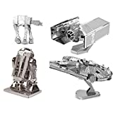 Metal Earth 3D Model Kits - Star Wars Set of 4 - TIE Fighter, R2-D2, AT-AT, Millenium Falcon