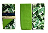 Tropical Style Dish Drying Mat and Kitchen Towel Set Green Leaf Print - Reversible Dish Drying Mat 12'' x 18'' Easy Way to Give Kitchen a Fresh Look (Tropical)