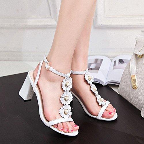 COOLCEPT Mujer Moda Correa En T Sandalias Tacon Ancho Bombas Zapato Punta Abierta Zapatos Blanco