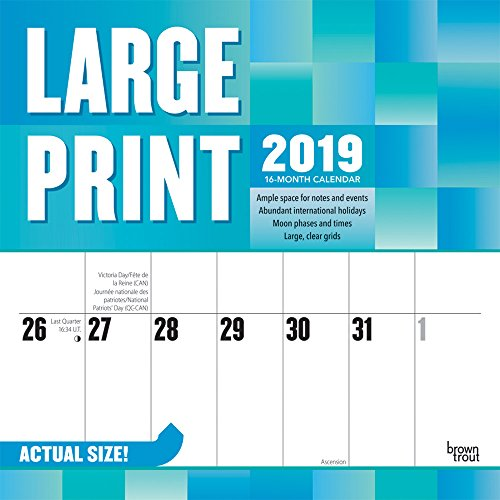 Large Print 2019 12 x 12 Inch Monthly Square Wall Calendar, Easy to See with Large Font (English, Spanish and French Edition)