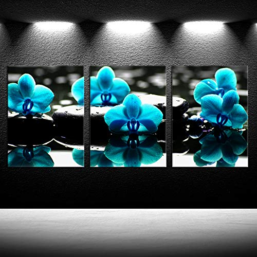 (iKNOW FOTO 3 Panel Canvas Art Wall Decor Modern Flowers Painting Blue Orchid Zen Stones Posters and Prints Stretched and Framed Art Work for Living Room Bedroom Bathroom Decorations 12x16inchx3pcs)