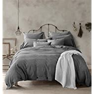 Doffapd Duvet Cover Queen, Washed Cotton Duvet Cover Set - 3 Piece (Queen, Dark Gray)