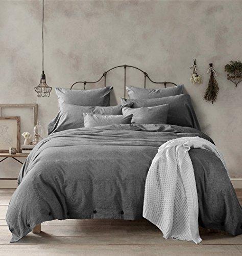 Doffapd Duvet Cover Queen, Washed Cotton Duvet Cover Set - 3 Piece (Queen, Dark Gray)