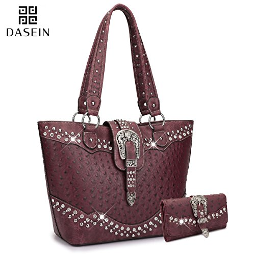 Dasein Designer Western Style Rhinestone Belt Buckle Camo Women's Tote Handbag Perfect Shoulder Bag (Bag + Matching Wallet, Wine Ostrich+Wallet) (Beautiful Full Ostrich)