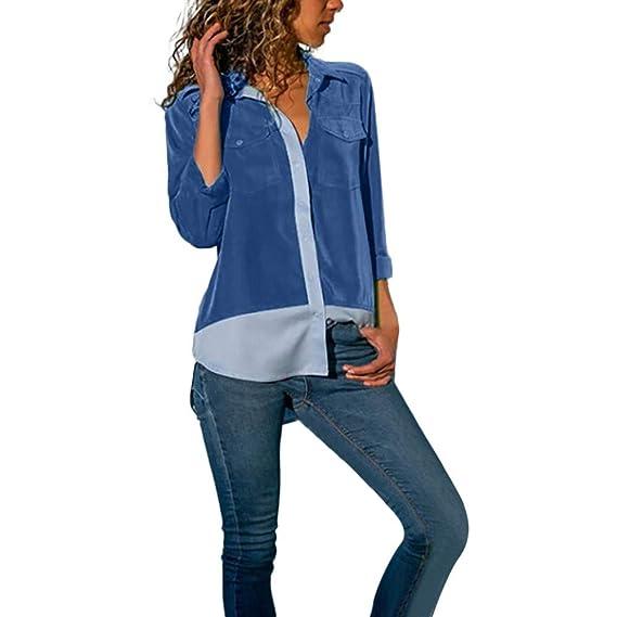 ❤ Botón para Mujer Empalme de la Camisa, Bolsillos de Bloque de Color de Manga Larga Informal Tops Blusa Absolute: Amazon.es: Ropa y accesorios