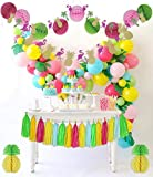 THE COMPLETE Tropical Pink Flamingo Pineapple Party Decorations Supplies Kit for Birthday, Bridal & Baby Shower Themed Moana Luau Hawaiian Beach Pool Summer - PREMIUM Quality By PomPomGLAM